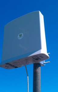 External CLEAR modem mounted on pole